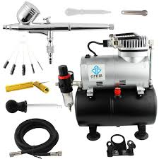 ophir dual action airbrush compressor kit with tank for hobby
