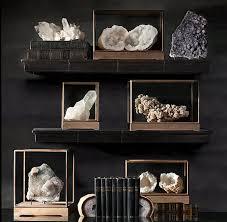 decoration mineral specimens decoration on black shelf and table