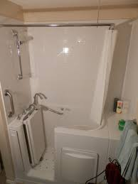 L Shaped Shower Rail Escape Plus Walk In Bathtub With Extension 3 Wall Composite