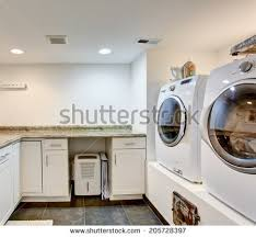 Storage Cabinets For Laundry Room White Brown Laundry Room Features Modern Stock Photo 555354592