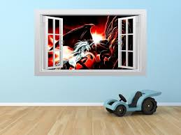 unicorn battling a dragon 3d window scape graphic art mural wall unicorn battling a dragon 3d window scape graphic art mural wall sticker enhance with vinyl