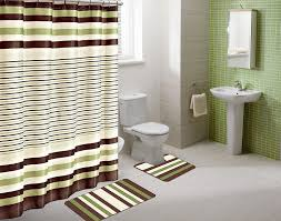 amazon com winry sage green striped 15 piece bathroom accessory amazon com winry sage green striped 15 piece bathroom accessory set 2 bath mats shower curtain 12 fabric covered rings home kitchen