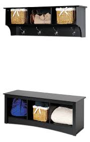 amazon com prepac sonoma black cubbie bench and wall coat rack