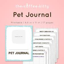 printable pet journal cute pet record pets medical record