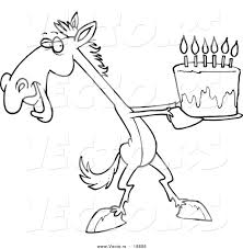 vector of a cartoon horse presenting a birthday cake outlined