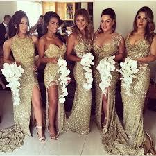 aliexpress com buy gold sequins bridesmaid dress high leg