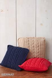 Knit Home Decor Bernat Pillow U0026 Pouf Knitting Patterns Yarnspirations