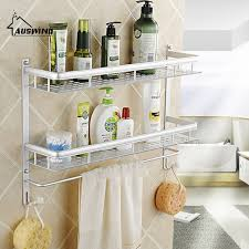 Bathroom Towel Shelves Wall Mounted Aluminum Silver Wall Mount 2 Layers Bathroom Storage Basket Shower