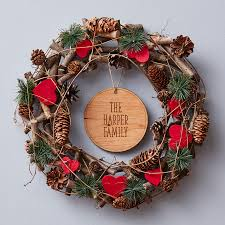 wooden heart personalised christmas wreath wreaths