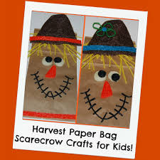 harvest themed paper bag scarecrow crafts for kids wikki stix