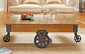 new industrial pallet cart coffee table black rolling wheels brown