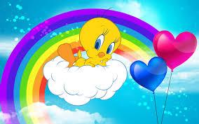tweety bird cartoon graphics pics rainbow background 3840x2400