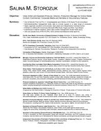 Sample Video Resume by Tv Editor Cover Letter