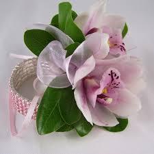 prom wristlets pink cymbidium orchid wristlet