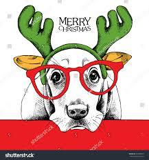 christmas poster dog basset hound portrait stock vector 326960810