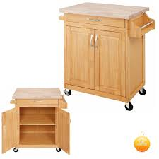 Kitchen Rolling Cabinet Kitchen Storage Cart Natural Wood Drawer Organizer Rolling Cabinet