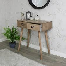 Retro Console Table Two Drawer Wooden Console Table Brixham Range Melody Maison