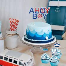 Nautical Decor For Baby Shower Nautical Theme Cupcake Toppers Decoration Baby Shower Baby Boy