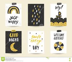 cute doodle black and gold birthday cards set stock vector image