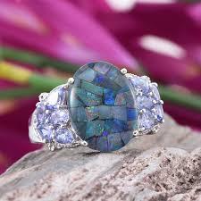 nickel free earrings australia australian mosaic opal tanzanite platinum sterling silver