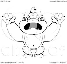 cartoon clipart of a black and white panicking gorilla monkey