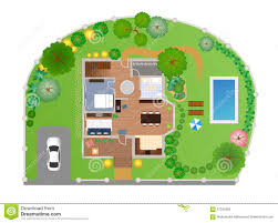 House Layout by House With Garden Layout Vector Stock Vector Image 57034282