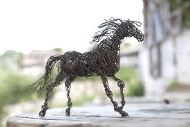 Home Decor Sculptures Upcycled Furniture Horse Sculpture Black Horse Gift Wire