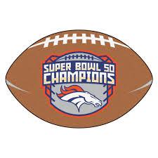 Denver Area Rugs Broncos Super Bowl 50 Football Shaped Nylon Area Rug