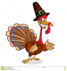 turkey in pilgrim hat thanksgiving vector illustration