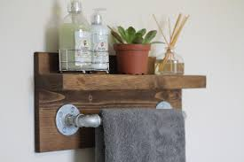 small rustic industrial towel rack bathroom shelf rustic