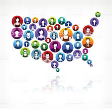 Ethnic Map Usa by Usa Map People Faces Community And Communication Pattern Stock