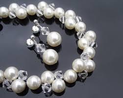 crystal pearl bracelet images Bridesmaids crystal pearl bracelet earring set clarissa jpg