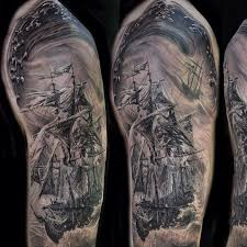 collection of 25 clouds sailing ship and octopus tattoos on half sleeve