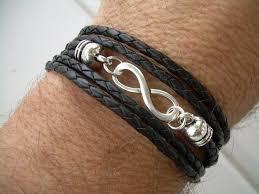 infinity bracelet leather images Black braided leather wrap infinity bracelet with nugget lobster jpg