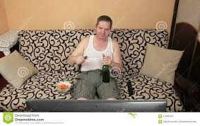 Couch Potato Tv Lazy Fat Man Watching Tv While On The Couch Stock Footage Video
