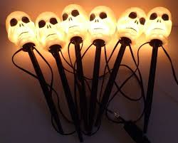 lawn stakes for lights skull lights set of 6 lawn stakes walkway yard lights nice condition