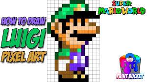 draw luigi super mario 16 bit pixel art