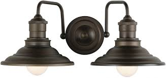 allen and roth lighting allen roth hainsbrook 2 light 17 99 in aged bronze cone vanity