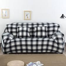one piece stretch sofa slipcover classic plaid printed black white sofa covers 1 piece plush fabric