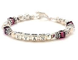 mothers bracelet mothers name bracelet february birth month crystals