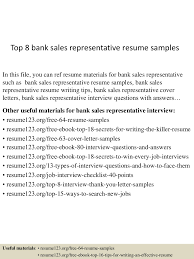 bank customer service representative resume sample top8banksalesrepresentativeresumesamples 150527142524 lva1 app6892 thumbnail 4 jpg cb 1432737043