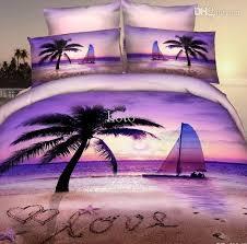 Wholesale Bed Linens - wholesale 3d purple beach palm tree bedding set for queen size