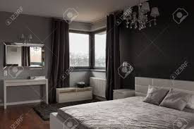 Bedrooms With Grey Walls by Dark Expensive Bedroom With Black And Grey Walls Stock Photo