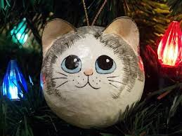 gray white fur pattern cat ornaments