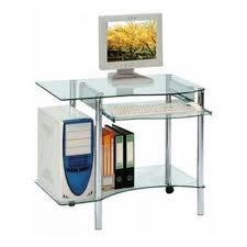 bureaux en verre petit bureau informatique en verre pietements inox sur 2 roulettes