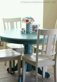 Painted Kitchen Table And Chairs by Pedestal Table With Weathered Finish Valspar Antiquing Glaze