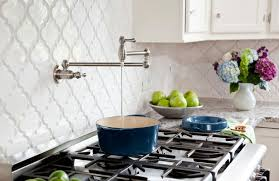 backsplash tile for white kitchen antique kitchen style ideas with white beveled arabesque tile