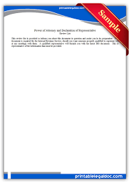 Power Of Attorney Irs Instructions by Free Printable Power Of Attorney And Declaration Of Representative