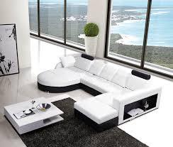 modern leather sectional sofa w built in side bookshelf