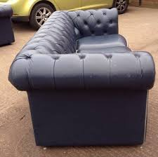 Blue Leather Chesterfield Sofa Stunning Vintage Blue Leather Chesterfield 3 Seater Sofa